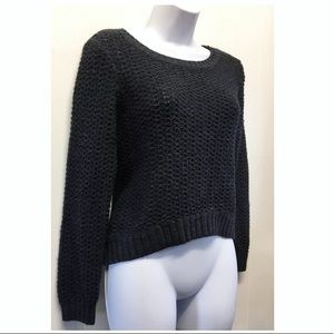 Roxy | Charcoal Gray Cropped Thick Knit Sweater